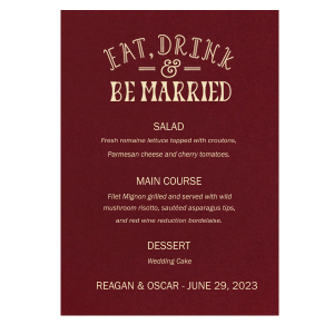 Eat Drink Be Married Menu