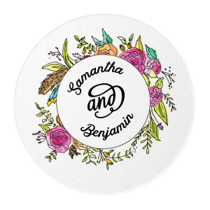 Floral Wreath Photo/Full Color Coaster