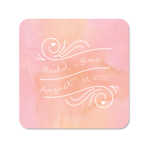 Watercolor Heart Frame Photo/Full Color Coaster