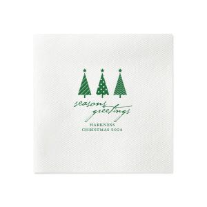 Seasons Greetings Christmas Tree Napkin