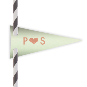 Heart Initials Straw Tag