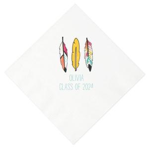 Boho Feather Graduation Photo/Full Color Napkin