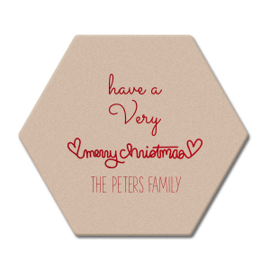 Merry Christmas Heart Coaster