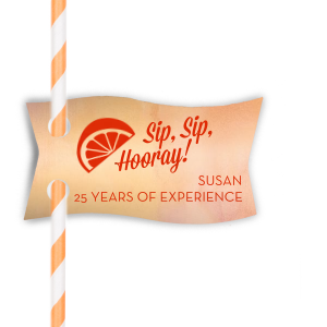 Hooray Retirement Straw Tag