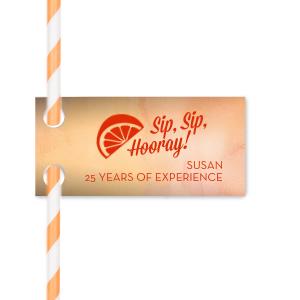 Hooray Retirement Straw Tag