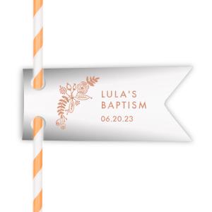 Floral Baptism Straw Tag