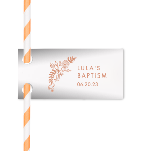 Floral Baptism Straw Tag