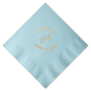 Rounded Initials Wedding Napkin