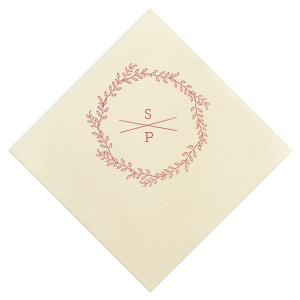 Floral Cross Section Initials Napkin