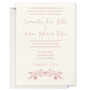Romantic Floral Letterpress Invitation