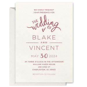 Wedding Of Letterpress Invitation