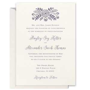 Pretty Floral Foil Invitation