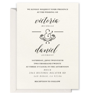 Foral Ampersand Letterpress Invitation