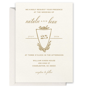 Rose Crest Foil Invitation