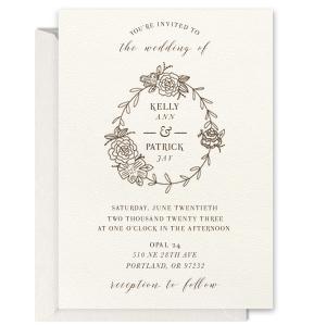 Peony Frame Foil Invitation