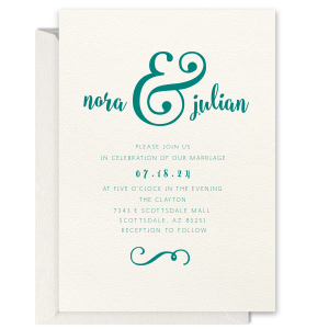 Ampersand Flourish Letterpress Invitation