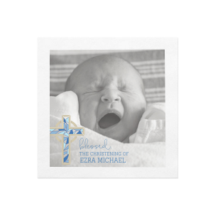 Blessed Blue Cross Photo/Full Color Napkin