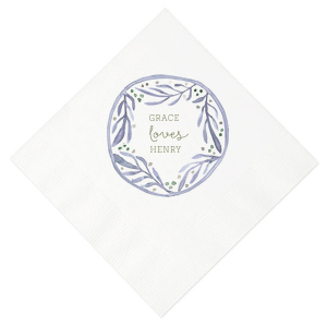 Water Leaf Frame Photo/Full Color Napkin