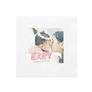 Pink Baby Balloon Photo/Full Color Napkin