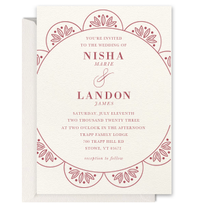 Scallop Botanical Foil Invitation