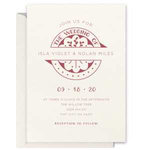 Wedding Badge Letterpress Invitation