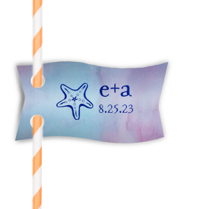 Starfish Initials Straw Tag