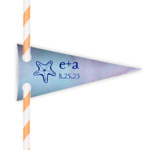 Starfish Initials Straw Tag