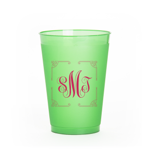 Ornate Border Monogram Frost Flex Cup