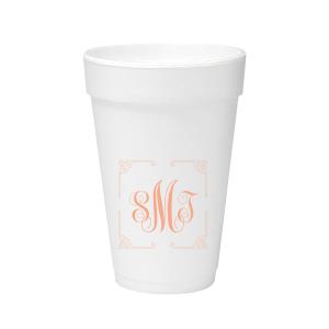 Ornate Border Monogram Foam Cup
