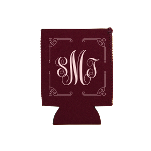 Ornate Border Monogram Can Cooler