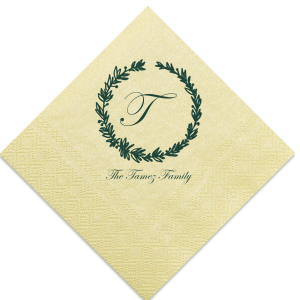 Family Initial With Wreath Napkin