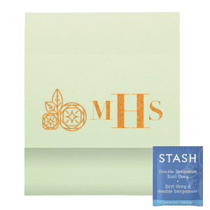 Monogram Geo Flower Tea Favor