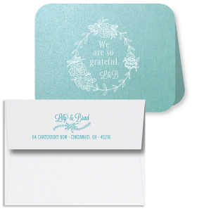 We Are So Grateful Laurel Wreath Thank You Card