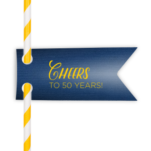 Cheers Anniversary Straw Tag