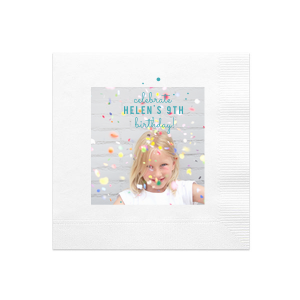 Confetti Birthday Photo/Full Color Napkin