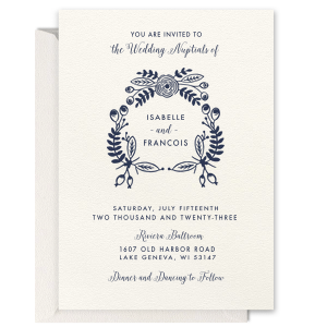 Pretty Floral Border Foil Invitation