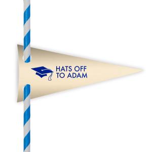 Graduation Cap Straw Tag