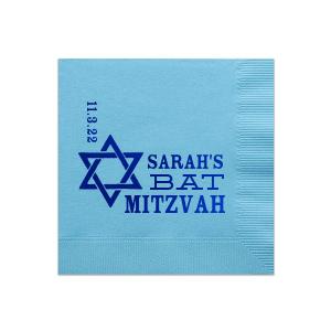 Star Of David Bat Mitzvah Napkin