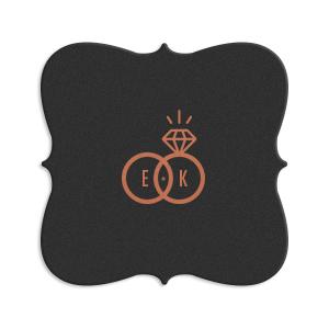 Diamond Ring Initials Coaster