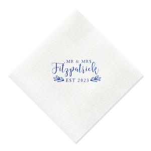 Handdrawn Leaf Wedding Napkin
