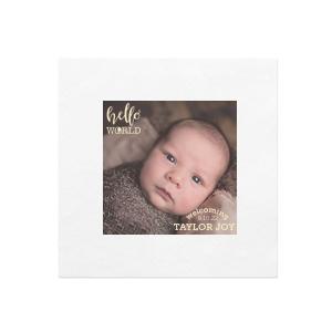 Hello World Baby Photo/Full Color Napkin