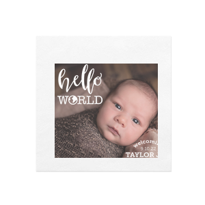 Hello World Baby Photo/Full Color Napkin