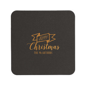 Happy Christmas Ribbon Coaster