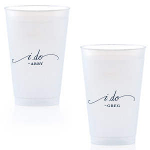 photo of 14oz Frosted Plastic Personalized Wedding Cups