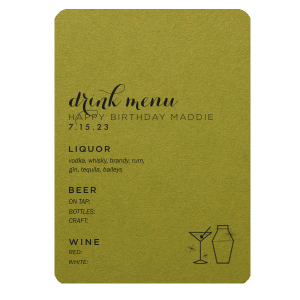 Martini Glass Drink Menu