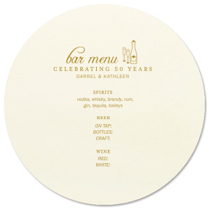 Anniversary Bar Menu
