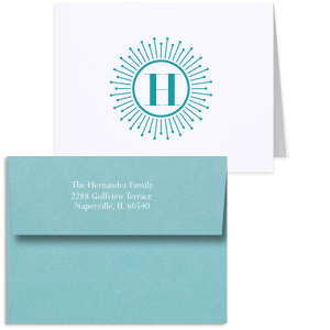 Sunburst Initial Note Card With Envelope