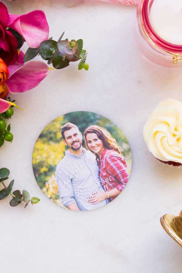 Round Photo Full Color Wedding Coaster