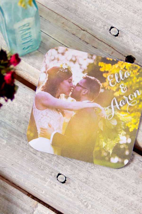 Photo Full Color Square Wedding Coaster