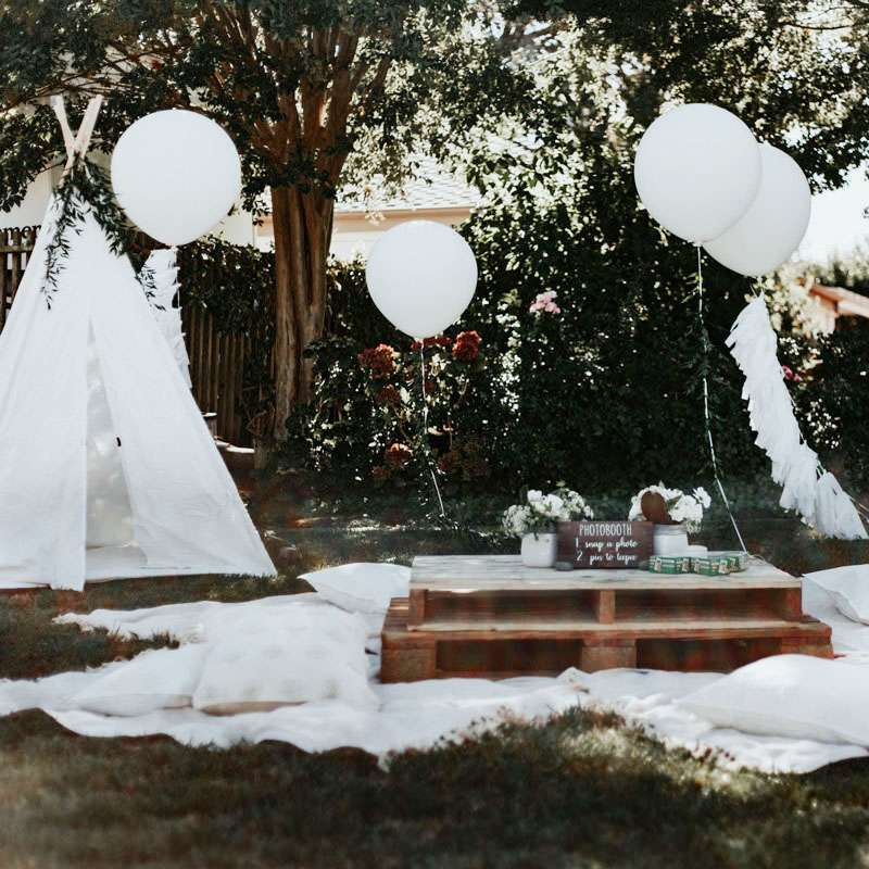 boho themed backyard baby shower ideas